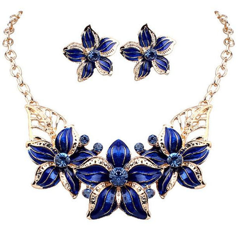 Charm Women Flower Chunky Pendant Chain Choker Collar Bib Necklace& Earrings Jewelry Set D01199 - onlinejewelleryshopaus
