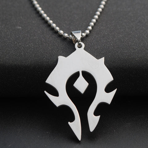 10PC/lot  Wholesale Game Jewelry Pendant Pendant Necklace Titanium Stainless Steel and World of Warcraft Tribal Symbols Titani - onlinejewelleryshopaus