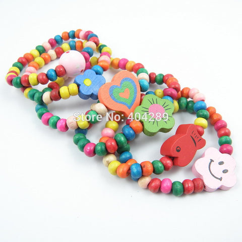 12Pcs Children Elastic Bracelet Kids Girl Colorful Wood Wristbands Child Toy Bracelet Wholesale Birthday Gift Jewelry - onlinejewelleryshopaus
