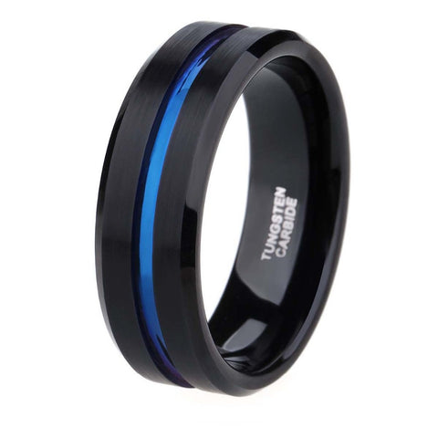 TIGRADE 8mm Men's Black Tungsten Carbide Ring Engagement Thin Blue Line Wedding Band Women Men Jewelry anello uomo Hot Sale - onlinejewelleryshopaus