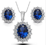 2016 Bridal Wedding Jewelry Sets Austrian Blue Crystal Earrings and Necklace Jewelry Sets For Women N32 - onlinejewelleryshopaus