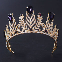 New Magnificent violet Rhinestone Queen Tiara Fashion Gold Big Diadem for Women Crown Wedding dress Hair jewelry accessories - onlinejewelleryshopaus