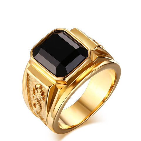 Stainless Steel Men Ring Black Agate Wedding Bands Rings  Gold Plated Rhombus Design Engagement Men Rings Jewelry - onlinejewelleryshopaus