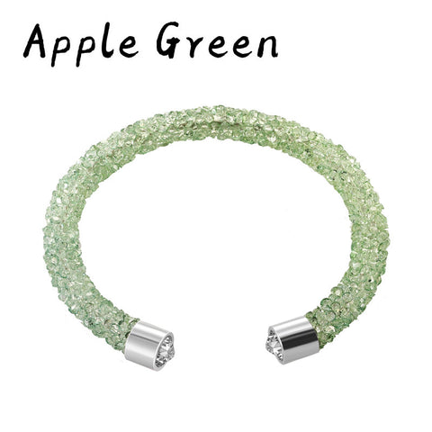 2017 Fashion Crystal bracelets Double Women brand Open Bangles Party Wedding Made With Austria full crystals jewelrys 11 colors - onlinejewelleryshopaus