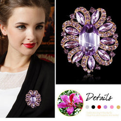 Pack of 3 Color Crystal Flower and Acrylic Stone Women Brooches for Sweater Coat Fashion Costume Jewelry in assorted colors - onlinejewelleryshopaus