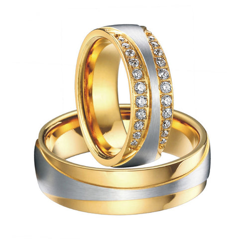 1 Pair luxury vintage gold plating cz diamond new infinity design wedding bands engagement rings sets for women and men - onlinejewelleryshopaus