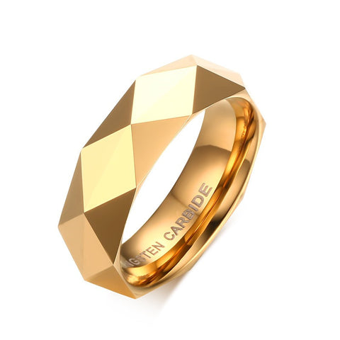 Vintage Fashion Tungsten Steel Mens Ring Rhombus Cut Band Gold/Silve/Rose Gold Rings for Men Wedding Jewelry RING-0079 - onlinejewelleryshopaus