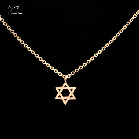 10pcs/lot Classic Jewish Star of David Pendant Necklace Stainless steel Lovely Girl Star of David Pendant Necklace N00122 - onlinejewelleryshopaus