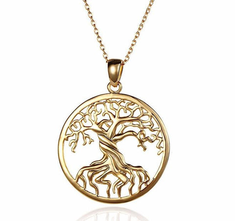 2016 Antique Tree Of Life Necklace Gold&Silver Plated Pendant Necklaces Memory Locket Charms Women Vintage Jewelry Wholesale - onlinejewelleryshopaus