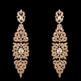 Luxury Gold Rhinestone Long Earrings Big Chandelier Earrings for Women Gold Party Wedding Earrings Women Jewelry Gift ersh67 - onlinejewelleryshopaus