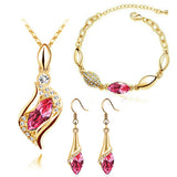 Fashion Bridal Jewelry Sets Horse Eye  Gold Plated Austrian Crystal Pendant Necklace Earrings Bracelet Jewelry Sets - onlinejewelleryshopaus