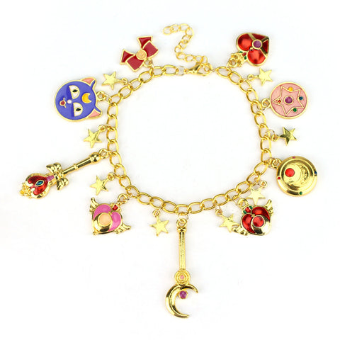 Free Shipping 1pcs a lot Anime Sailor Moon Charm Bracelet Gold Plated Cute Bracelet for Girl/Women/Children Gift - onlinejewelleryshopaus