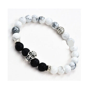 Rock Men Silver plated Skull Natural White Turquoise Stone Health Bracelets for men women jewelry Lava stone beaded bracelets - onlinejewelleryshopaus