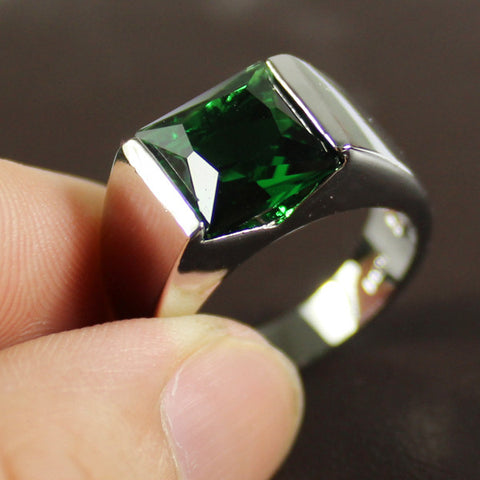 Men's Silver Sqaure Green Lab Created Emerald Crystal Stone Solitaire Ring Eternity Jewelry for Men - onlinejewelleryshopaus