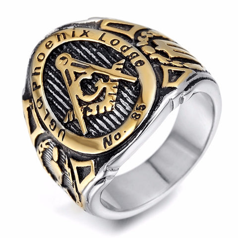 Mens Stainless Steel Ring, Vintage, Biker, Gold, Black, Masonic gold plated ring jz061 - onlinejewelleryshopaus