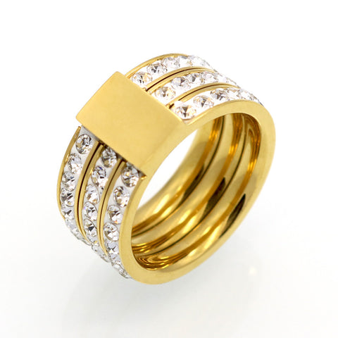 Female Brand Gold Plated Zircon Crystal Titanium Stainless Steel Rings For Women Men Wedding Jewelry Three Layers Beauty anillos - onlinejewelleryshopaus