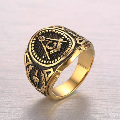 Men Fashion Accessories Punk Band Masonic Ring Freemasons gold color Stainless Steel Rings - onlinejewelleryshopaus