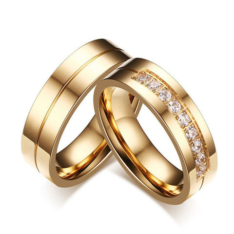Hot sale gold plating wedding rings for men women CZ couple ring 316l stainless steel engagement jewelry alliance - onlinejewelleryshopaus