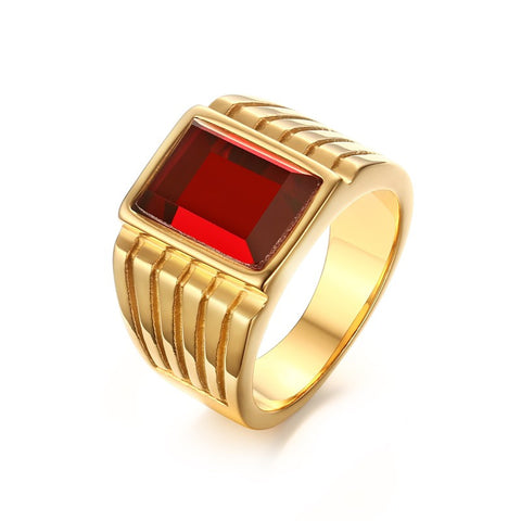 Meaeguet Men's Square Created Simulated Red Rings Gold-Plated Steel Jewelry Bague Anillos US Size 7-11 - onlinejewelleryshopaus