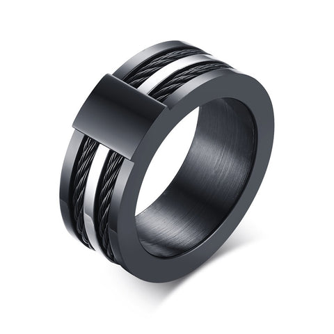 Meaeguet 9mm Domineering Men's Black Titanium Ring Wedding Band with Stainless Steel Cables Design Wedding Ring Men - onlinejewelleryshopaus