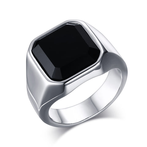2016 new male ring Black Agate Stone Ring 316L Stainless Steel Ring for Men Elegant Quality Nature Stone Titanium  Ring Utr8021 - onlinejewelleryshopaus