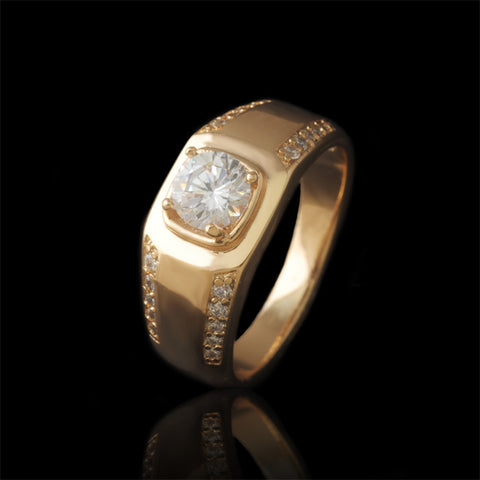 Single Stone Men Rings with  Gold Plated and Environmental Copper - onlinejewelleryshopaus