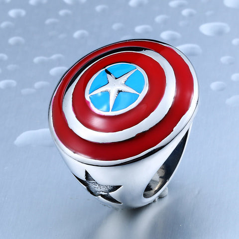 BEIER New Cool Captain American Shield Ring for Man Stainless Steel Man's Cool Unique Ring Steel Fashion Movie Jewelry BR8-340 - onlinejewelleryshopaus