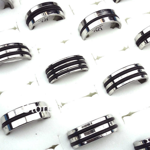 10pcs Silver Stainless Steel Fashion Mix Style Black Rubber Women Mens Rings Wholesale Jewelry Lots A-192 - onlinejewelleryshopaus