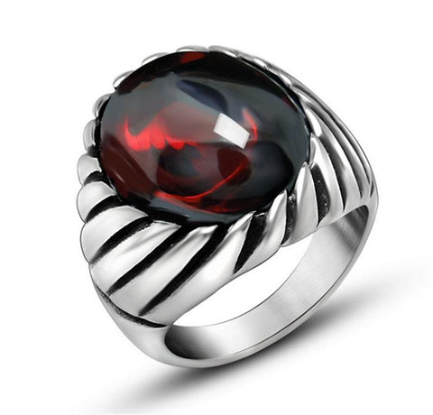 Punk Never Fade Stainless Steel    Rings For Men Big Red Black Natural Stone Ring Men CZ    Wedding Jewelry Anel Noble - onlinejewelleryshopaus