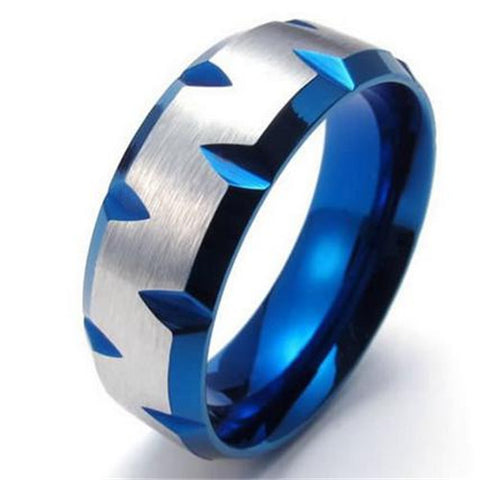 8mm Stainless Steel Mens Ring, Blue Plated Faceted Edges, Blue Silver - onlinejewelleryshopaus