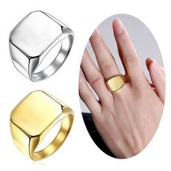 New Stainless Steel Ring Polished Signet Solid Biker Ring Fashion Jewelry Women Men Gift  BS88 - onlinejewelleryshopaus
