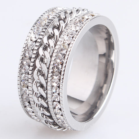 10mm chain double row crystal 316L Stainless Steel wedding rings for men women wholesale - onlinejewelleryshopaus