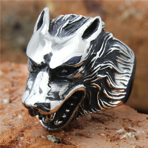 Mens 316L Stainless Steel Cool Silver Wolf Ring Biker Style Animal Wolf Ring - onlinejewelleryshopaus