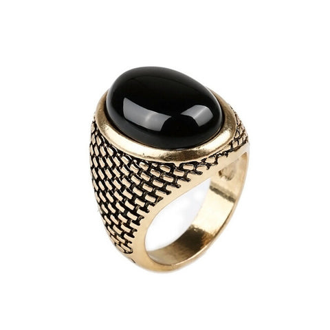 Gothic Vintage Punk Men Ring Gold Plated Black Stone Ring Fashion Oval Shape Black Men Ring Size 7-10 - onlinejewelleryshopaus