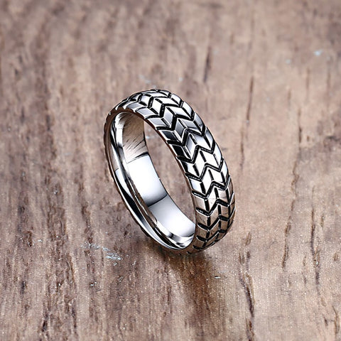 6MM Silver Grooved Tire Tread Style Rings for Men Jewelry Stainless Steel High Polish Wedding Band for Husband Boyfriend Gift - onlinejewelleryshopaus