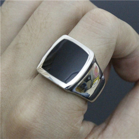Size 8 to 13 Polishing Black Color Cocktail Ring 316L Stainless Steel Hot Ring - onlinejewelleryshopaus