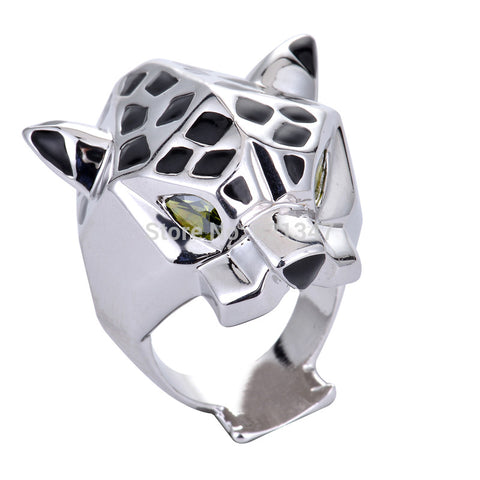 Fashion Quality White Gold Plating Leopard Man Woman Cocktail Statement Ring Green Zircon Eyes - onlinejewelleryshopaus