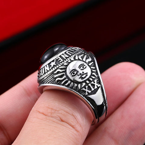 Beier new store 316L Stainless Steel ring top quality black stone men/women ring  fashion popular fashion jewelry BR8-335 - onlinejewelleryshopaus