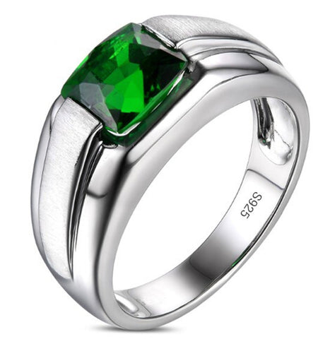 Men's Silver Square Green Lab-created Emerald CZ Crystal Stone Solitaire Wedding Ring Classic Jewelry - onlinejewelleryshopaus