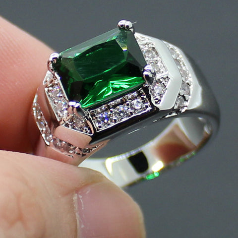 Men's Silver Oblong Green Lab Created Emerald with CZ Side Stone Ring Size 9, 10, 11 - onlinejewelleryshopaus