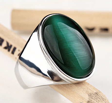 Brand New Hot Titanium steel Punk Green Opal Wide Ring Unisex Personality High Quality Men and Women Fashion Jewelry - onlinejewelleryshopaus