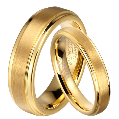 1 Pair Gold Plated Tungsten Carbide Wedding Band Rings Set for Him and Her 6mm for Men 4mm for Women Brushed Finish - onlinejewelleryshopaus