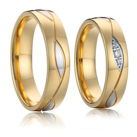 titanium steel wedding rings sets for men and women gold plated health anti allergic vintage jewelry rings - onlinejewelleryshopaus