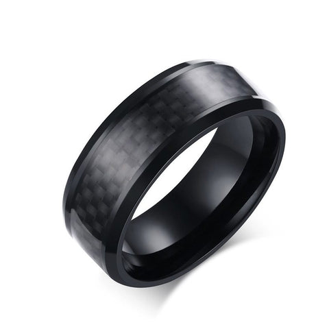 2016 Fashion Black Carbon Fiber Punk Ring For Men 8mm Stainless Steel Wedding Mens Rings Jewelry R-152 - onlinejewelleryshopaus