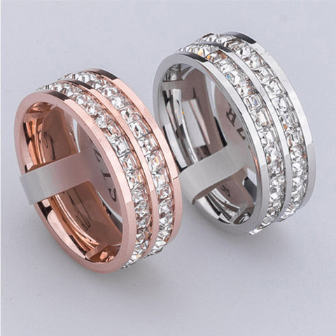 New Fashion Brand Design gold plated Stainless Steel Rings For Woman full Crystal Jewelry  love Rings for men women - onlinejewelleryshopaus