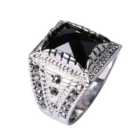2016 Fashion Square Shape Men Rings Vintage Punk Antique Silver Plated Black Stone CZ Filled Ring Men Jewelry Wholesale - onlinejewelleryshopaus