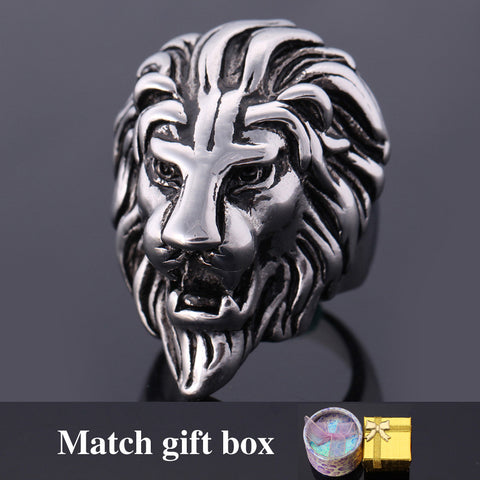 Lion Head Ring For Men 316L Stainless Steel Man Rings with gift box hiphop punk rings R386G - onlinejewelleryshopaus