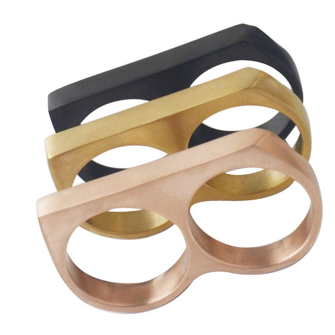 Gold/Two Finger Vintage Rings Cool Punk Party Big Statement Ring,Stainless steel fashion ring Jewelry for Men,Men's finger ring - onlinejewelleryshopaus