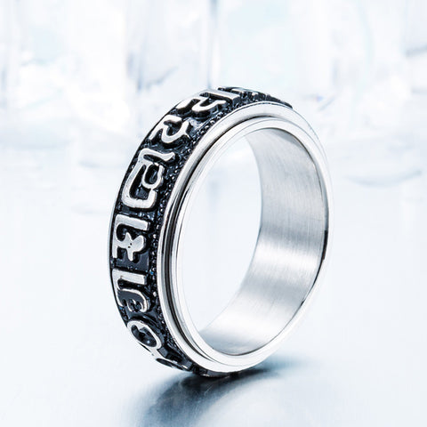 The Ring Can Spin New Design Man's Gothic Old Word Lucky Ring Stainless Steel 2016 Ring  BR8-028 US size - onlinejewelleryshopaus
