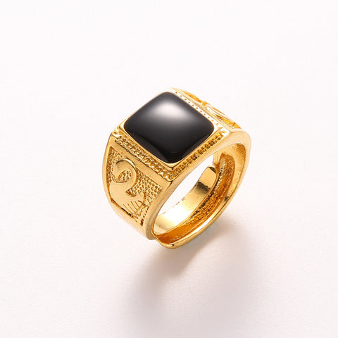 New Free Size Black Square Gem Gold Ring Men Jewelry Gold Filled Classic Men Finger Ring Male Wide 3D Goose Red Gem Men Ring - onlinejewelleryshopaus